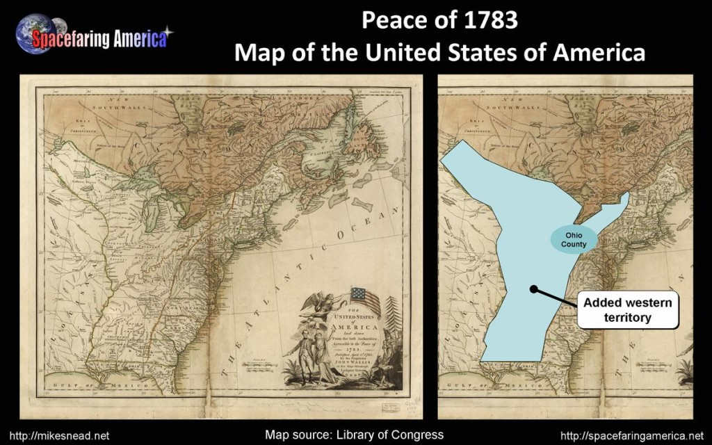 Peace of 1783 Map of the United States of America