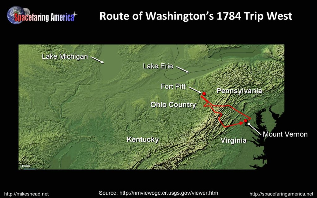 Route of George Washington's trip west in 1784
