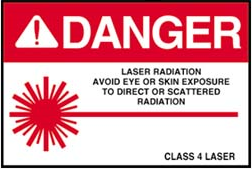 Sign danger laser radiation