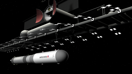 Heavy spacelifter delivering oversize payload to LEO space dock, itself built from similar large components