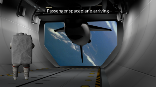 Passenger spaceplane arriving at LEO space dock's space hangar
