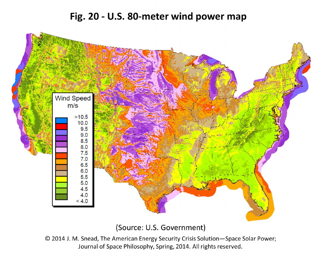 Figure 20 – U.S. 80-meter wind power map