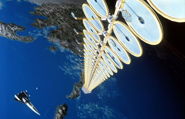 A space-based solar power concept from the 1990s. Such technologies might be critical to meeting growing energy needs while following the guidelines of the Paris climate agreement. (credit: NASA)