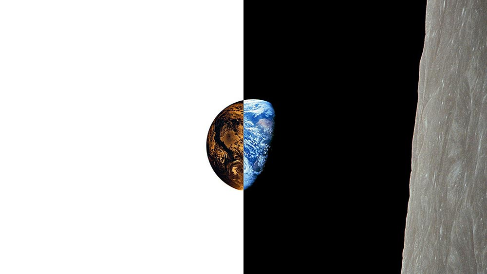 Figure 7: This is the Apollo 8 photograph of the Earth from lunar orbit. While the right side of the image depicts space as seen with the human eye, the inverted left side of the image illustrates that the Earth is surrounded by continuous solar energy, invisible to our eyes, but sufficient to power our civilization through GEO space solar power (original photograph credit: NASA).